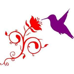 HUMMING BIRD WITH ROSE/Vinyl Wall Art/Decal Everything