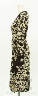 BCBG Max Azria Black & Beige Floral Knit Long Sleeve Dress Size Small