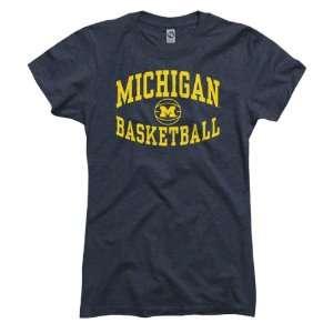Michigan Wolverines Womens Heather Navy Reversal Basketball Ring Spun