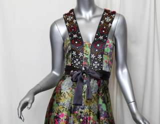 MATTHEW WILLIAMSON*BEADED+EMBROIDERED SILK*Long Floral Maxi Dress NEW