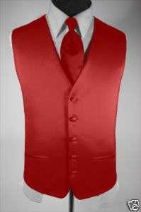 Mens Suit Tuxedo Dress Vest and Necktie Red Medium