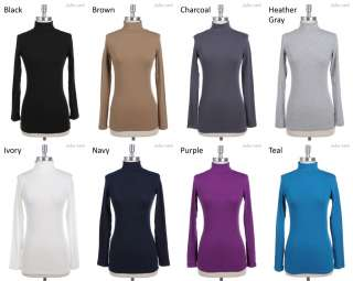 Long Sleeve Turtle Neck Top Stretch VARIOUS COLOR and SIZE