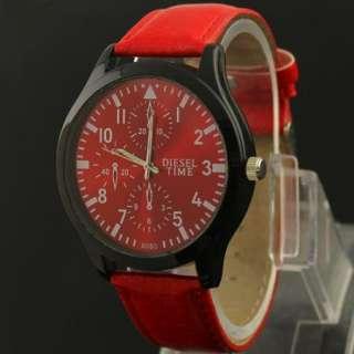 new design of large mens leather fashion quartz watch,M21 RD