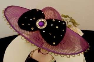 Hat Shaped Earring Ring Jewelry Holder Stand Mannequin Purple Velvet