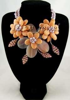 Agate jade pearl crystal flower necklace/earring set VJ