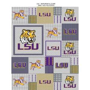 College LSU Louisiana State University Tigers Grey Patchwork Print