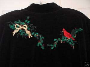KAREN SCOTT BLACK TOP WITH RED CARDINAL EXTRA LARGE