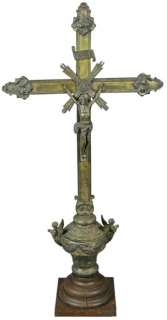 LARGE ANTIQUE FRENCH STANDING CRUCIFIX CROSS ANGELS