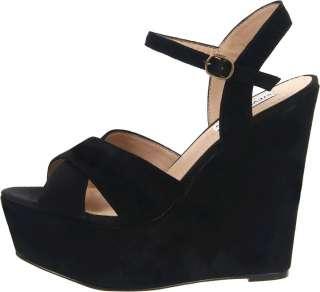 STEVE MADDEN Westii BLACK Wedges Platform Sandals Suede Shoes Womens