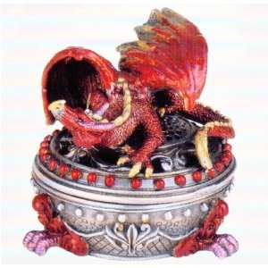 3.5 Tall Red Pewter Dragon Trinket Box Case Pack 6