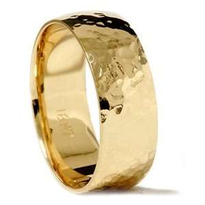 Solid 18K Yellow Gold Polished Hammered 7MM High Quality Mens Wedding