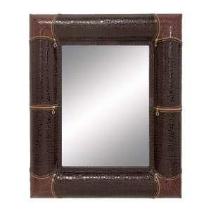 Stylish Wood Leatherette Large Decorative Wall Mirror