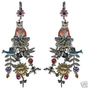 KIRKS FOLLY Catnip Garden Leverback Earrings NEW kitty