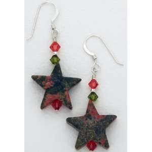 Swarovski Crystal and Unakite Star Dangle Earrings Curious Designs