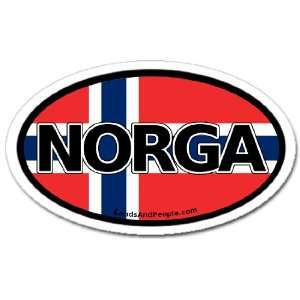 Norway N Norwegian Flag Car Bumper Sticker Decal Oval