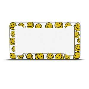 Yellow Smiley Happy Face Plastic license plate frame Tag