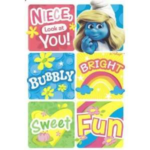Greeting Card Birthday Smurfs Niece, Look at You! bubbly