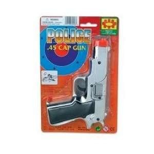 Kids Chrome Plated Cap Gun Pistol 6.75 inch (1 Dozen