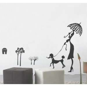 House Woman and Dog removable Vinyl Mural Art Wall Sticker Wall Decal