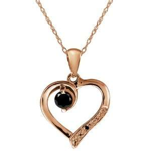 Diamond Gemstone 14k Rose Gold Heart Shape Pendant with Chain Jewelry
