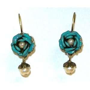 Sweet Romance Retro Gold Finish Tea Rose Dangle Earrings