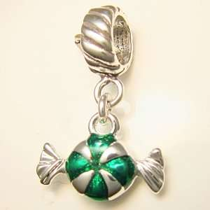 Peppermint Candy Green Silver Plated Christmas Dangle Charm