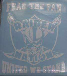 RAIDER NATION FEAR THE FAN DECAL VINYL STICKER 17 inch