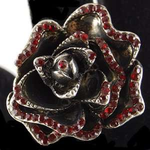 Beautiful Red Rose Crystal Rhinestone Encrusted Petal