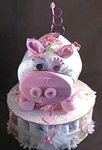 Pig Diaper Cake Piggybank Baby Shower Gift Centerpiece