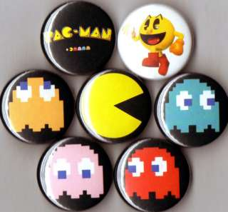 Pacman 7 pins buttons badges Pac Man ghosts 1 80s