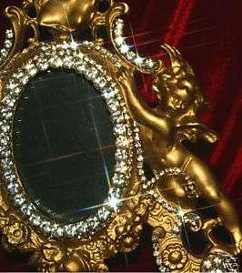 Sparkly Gold tone winged Cherub Angel Metal Vanity JEWELED Photo