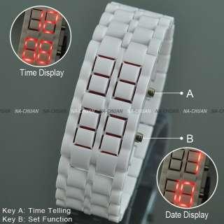 White Lava Style Red LED Digital Date Lady Mens Sport Plastic Wrist