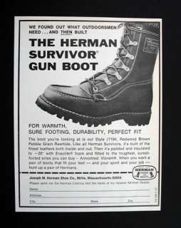 Herman Survivor Gun Boot boots 1971 print Ad