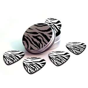 Zebra Print Premium Guitar Picks x 5 With Tin Musical