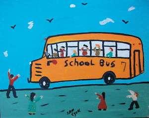 SAM EZELL OUTSIDER FOLK ART SCHOOL BUS DECOR ART
