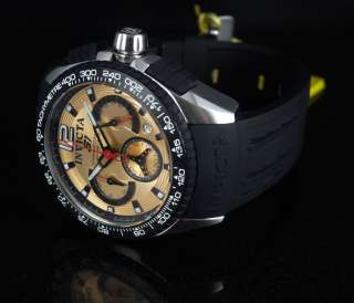 Invicta Mens S1 Racing Chronograph Rose tone Dial Black Strap Watch