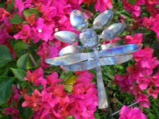 FLOWER & DRAGONFLY METAL YARD ART/MADE OF SPOON & KNIFE