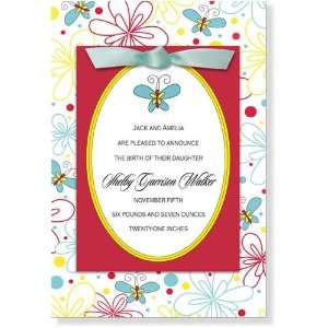 Girl Baby Shower Invitations   My Blissful Butterfly Bow Invitation