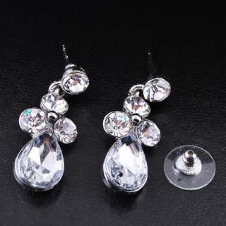 free clear womens bridal Necklace Earring 1set H27854 white gold