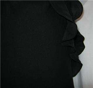Lauren by Ralph Lauren black silk ruffled halter top evening gown size