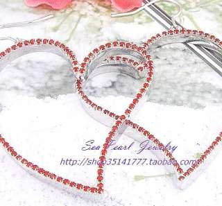 Wholesale 12Pairs Red Heart Crystal Rhinestone Earrings