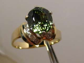 Vintage 2.95ct VVS Green TOURMALINE & Diamond Ring 14k Gold