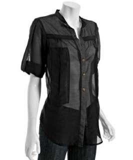 Geren Ford black silk cotton oxford shirt