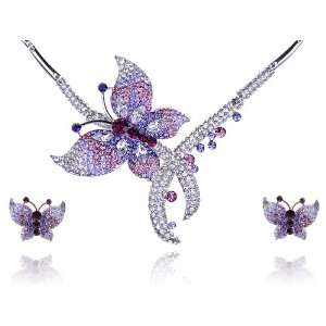 Fly Butterfly Swarovski Crystal Rhinestone Necklace Earring Set