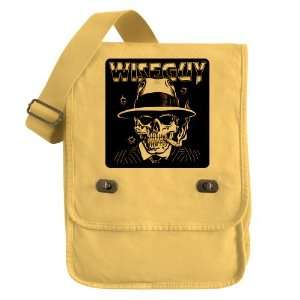 Field Bag Yellow Wiseguy Skeleton Smoking Cigar with Bullet Holes
