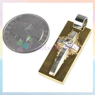 Men Titanium Steel Cross Necklace/Chain Pendant &Zircon