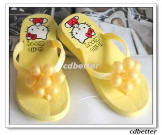 Kids Hello Kitty Yellow Grape Flip Flop Sandal Shoe 2.5