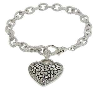 Sterling Silver 925 Heart Charms 0.66ct Genuine Diamonds Necklace