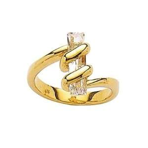 18K Gold Plated Clear Cubic Zirconia Modern Chic Style Ring Jewelry