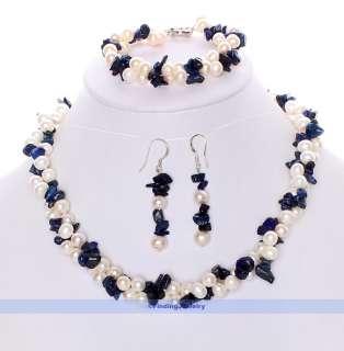 Blue Lapis & White Pearl Necklace Earrings Bracelet Set